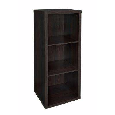 16 in. W x 44 in. H Decorative Black Walnut 3-Cube Organizer