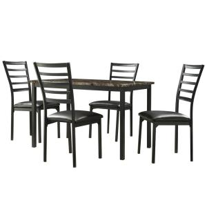 Click here to buy HomeSullivan Miona 5-Piece Black Dining Set by HomeSullivan.