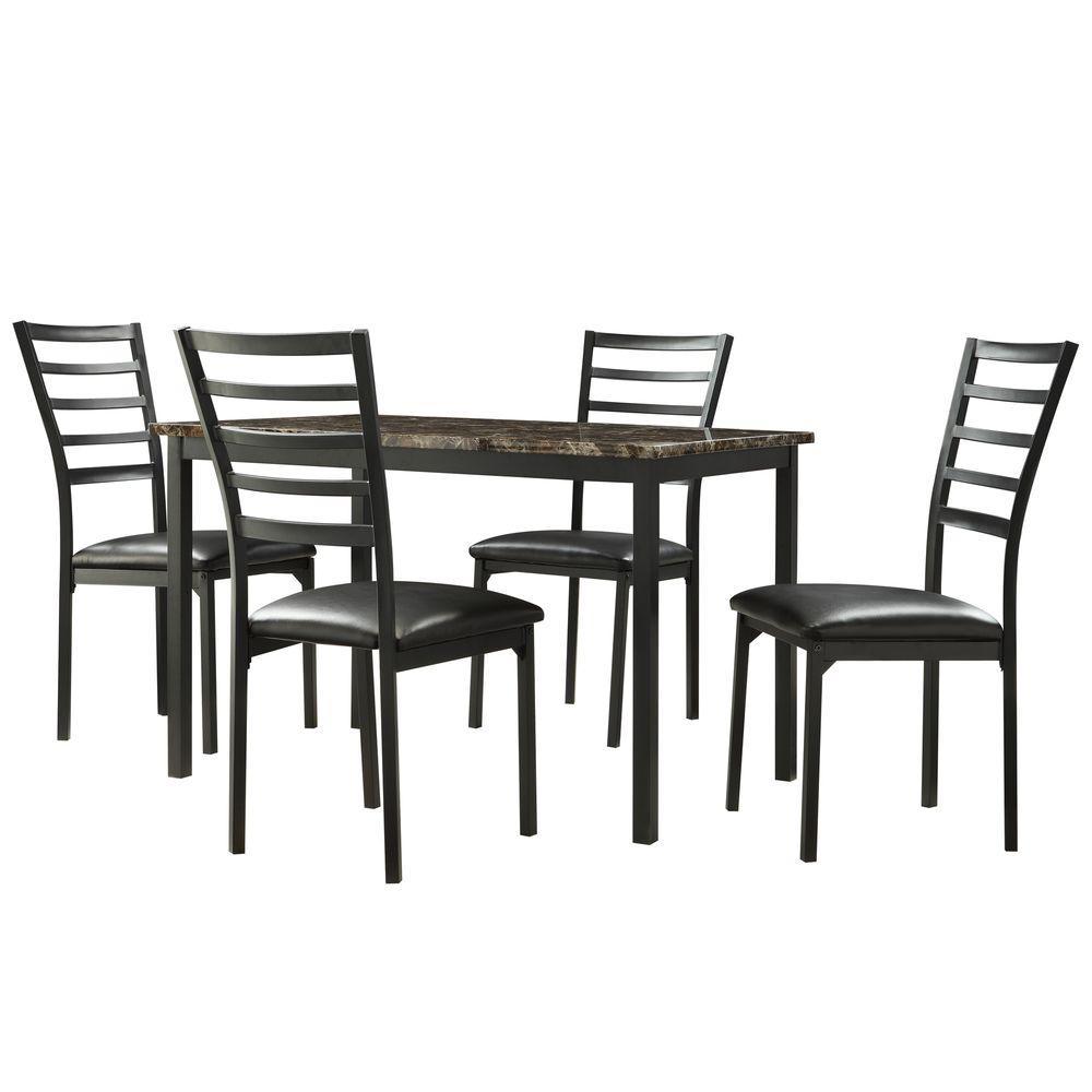 Miona 5-Piece Black Dining Set