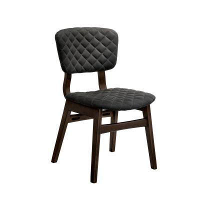 Cirez Walnut Fabric Grid Tufted Side Chair (Set of 2)
