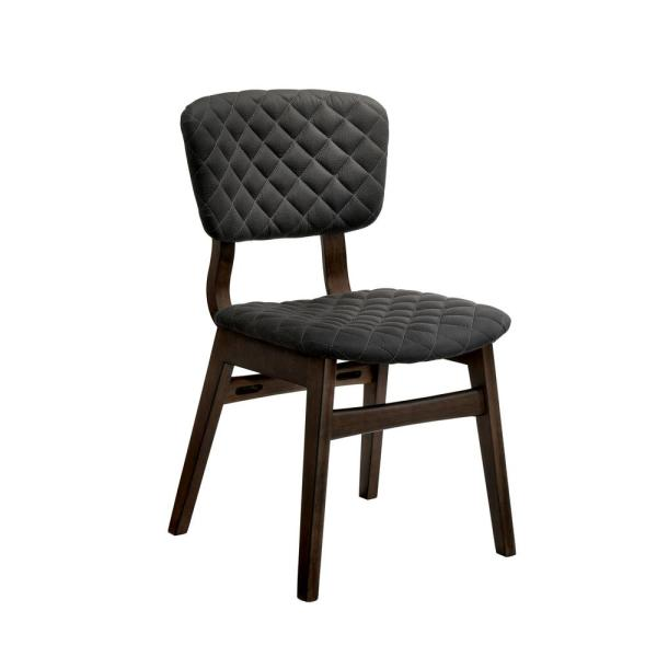 Furniture of America Cirez Walnut Fabric Grid Tufted Side Chair (Set
