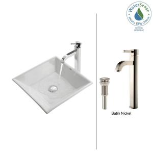 bathroom faucet sink kraus flat square ceramic vessel sink in white with ramus 10563