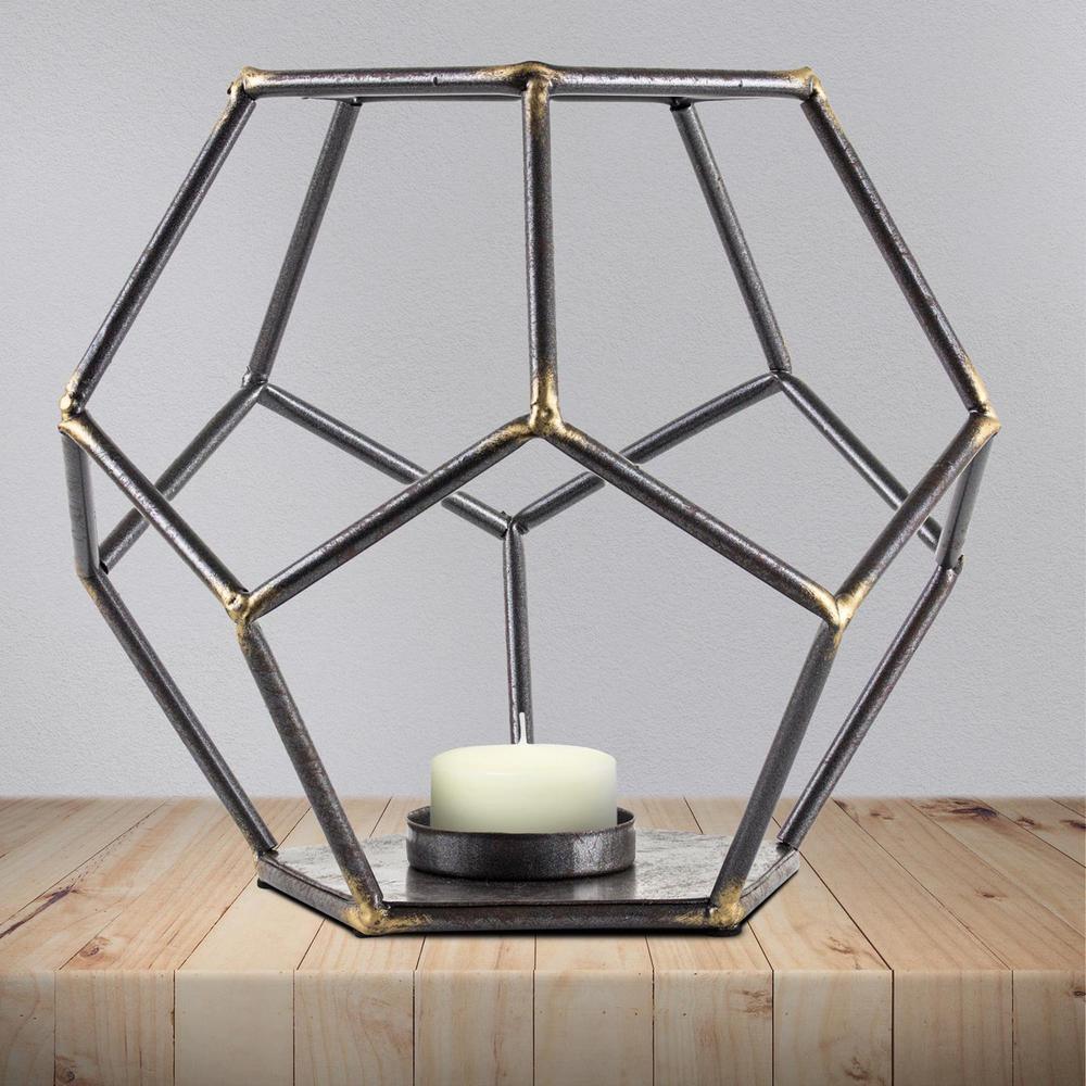 Crystal art gallery geometric hexagon metal candle holder