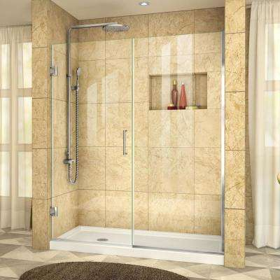 Unidoor Plus 58 in. to 58-1/2 in. x 72 in. Frameless Pivot Shower Door in Chrome
