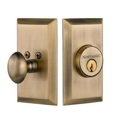 Studio Plate 2-3/4 in. Antique Brass Backset Single Cylinder Deadbolt