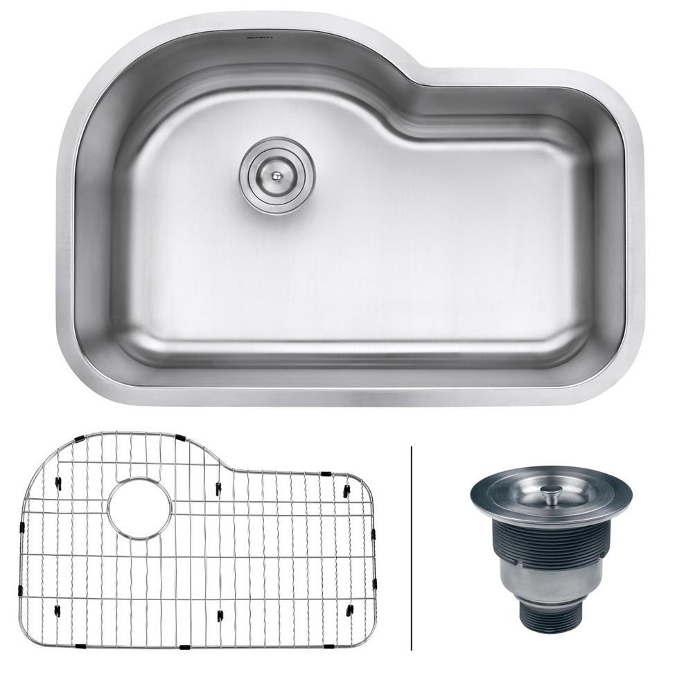 ruvati undermount stainless steel 32 in  16 gauge single bowl kitchen sink ruvati undermount stainless steel 32 in  16 gauge single bowl      rh   homedepot com