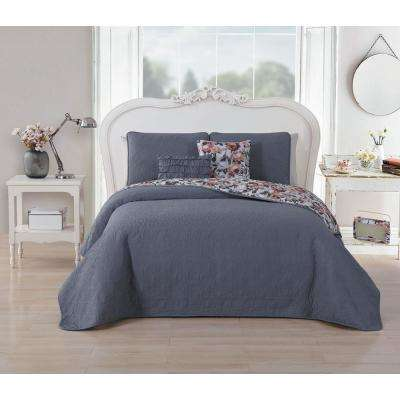 Carla 5-Piece Blue/Rose King Quilt Set