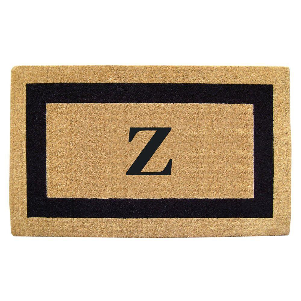 Single Picture Frame Black 22 in. x 36 in. HeavyDuty Coir Monogrammed Z Door Mat