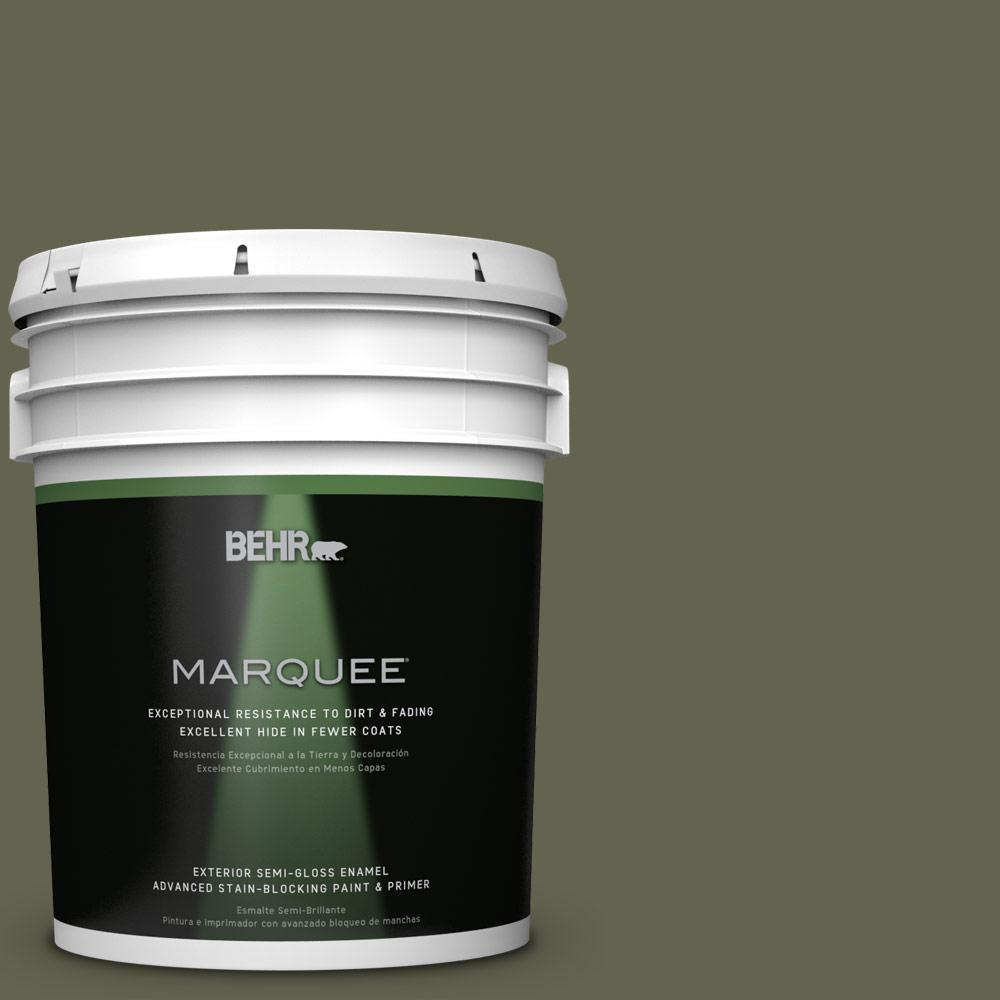 BEHR MARQUEE 5-gal. #N350-7 Russian Olive Semi-Gloss Enamel Exterior Paint