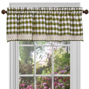 Achim Buffalo Check 14 inch L Polyester/Cotton Valance in Sage by Achim