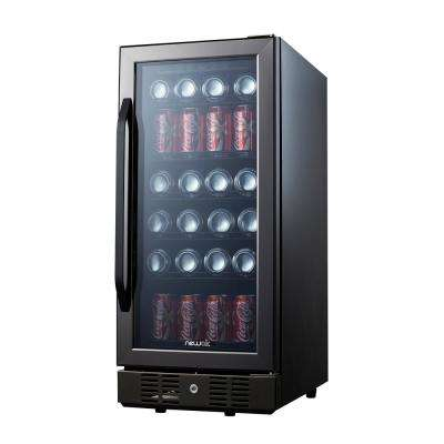 Compact 96 Can Built In Beverage Cooler, Black Stainless Steel