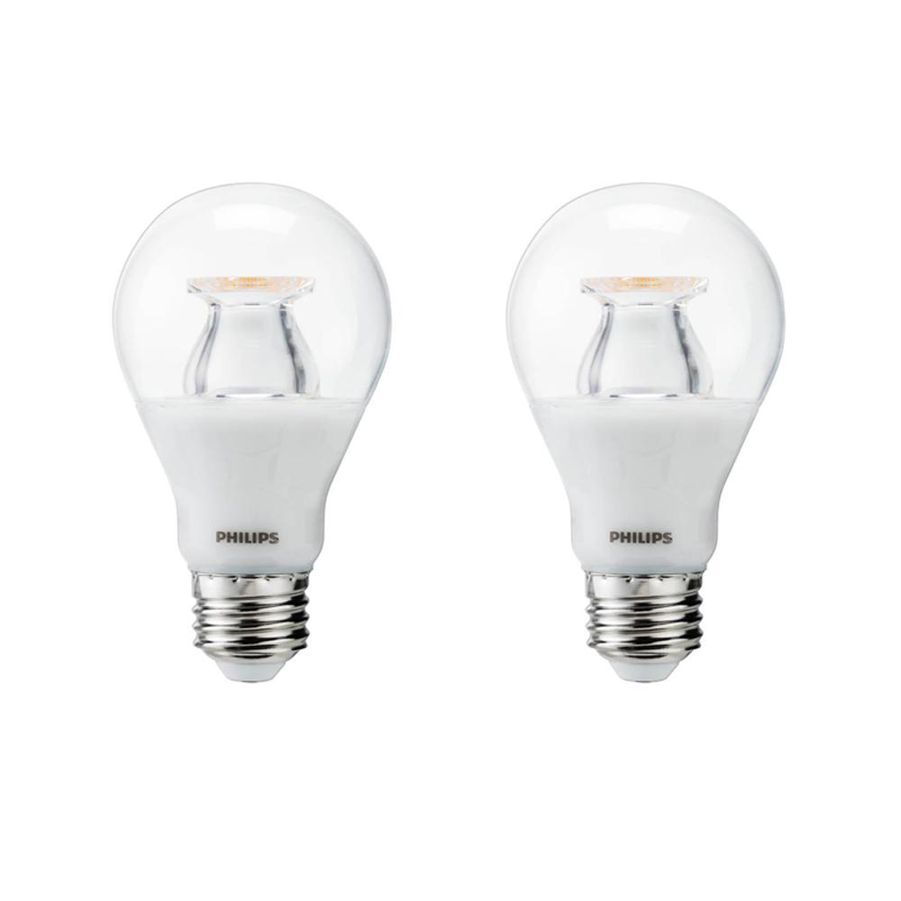 Philips 60-Watt Equivalent A19 Dimmable with Warm Glow Dimming Effect Energy Saving LED Light Bulb Soft White (2700K) (2-Pack)