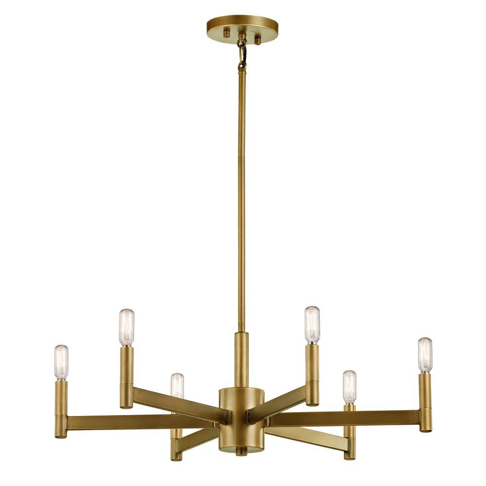 KICHLER Erzo 6-Light Natural Brass Chandelier - Sale: $382.49 USD (15% off)