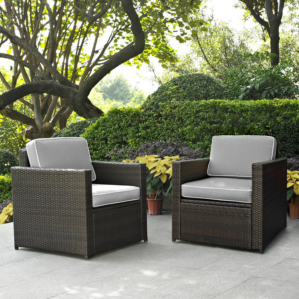 Crosley Palm Harbor 2-Piece Wicker Outdoor Seating Set with Grey Cushions - 2 Wicker Outdoor Chairs