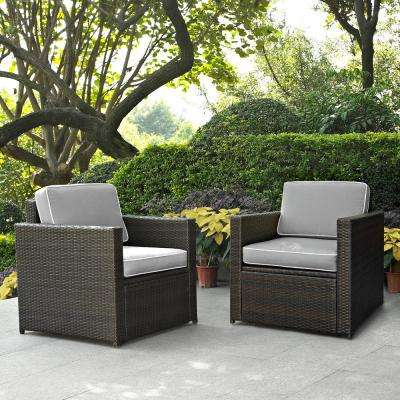 Palm Harbor 2-Piece Wicker Outdoor Seating Set with Grey Cushions - 2 Wicker Outdoor Chairs