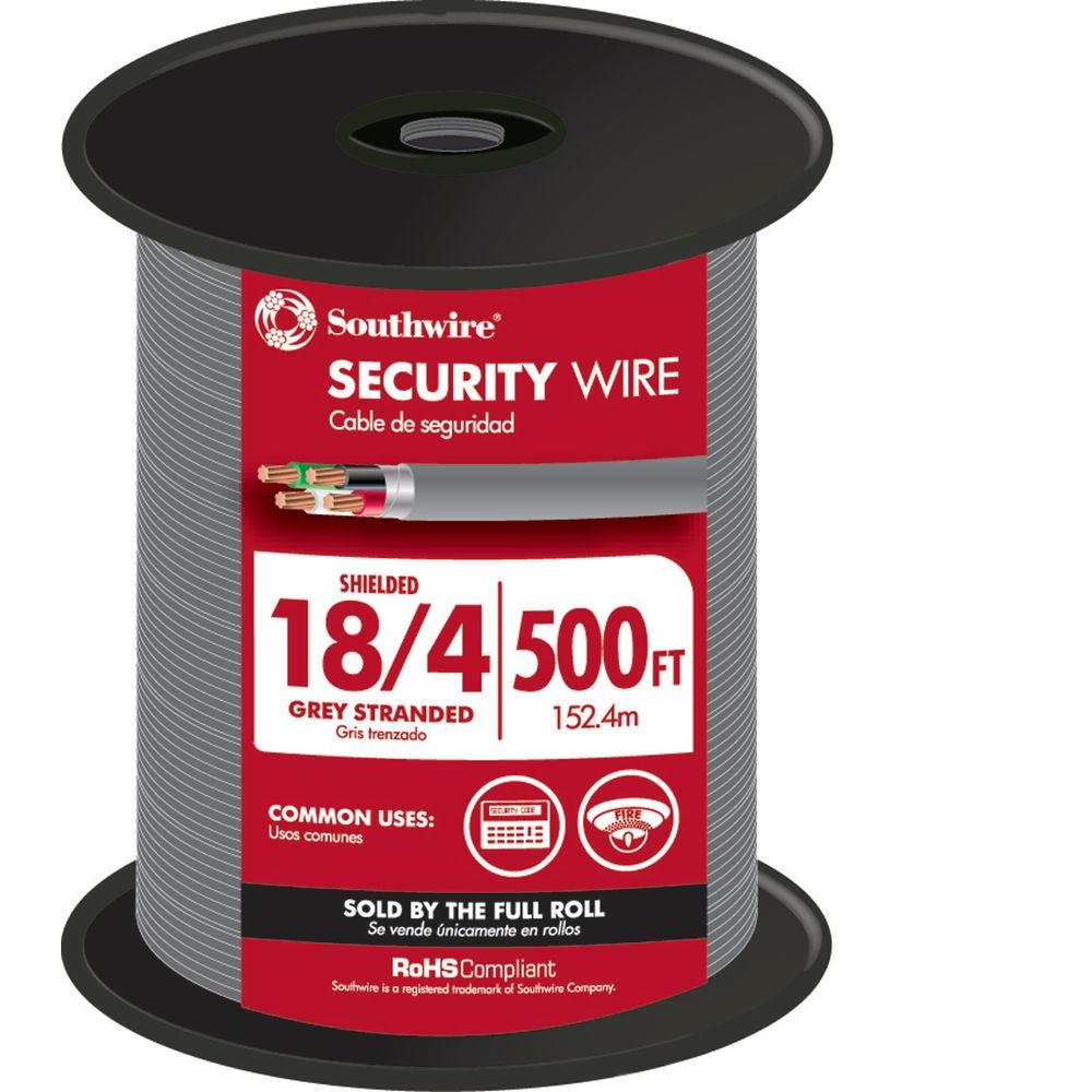 Southwire 500 ft. 18/4 Gray Stranded CU CL3R Shielded Security Cable