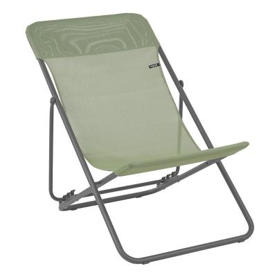 Maxi Transat Moss Steel Folding French Style Lawn Chair (2-Pack)
