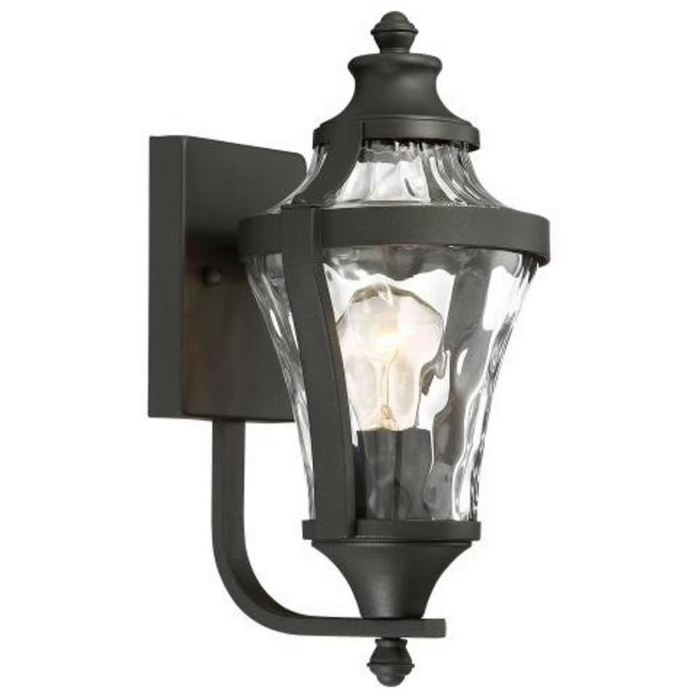 Libre Collection 1-Light Black Outdoor Wall Mount Lantern with Clear Water