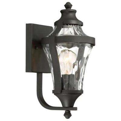 Libre Collection 1-Light Black Outdoor Wall Mount Lantern with Clear Water Glass