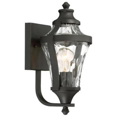 Libre Collection 1-Light Black Outdoor Wall Lantern Sconce with Clear Water Glass
