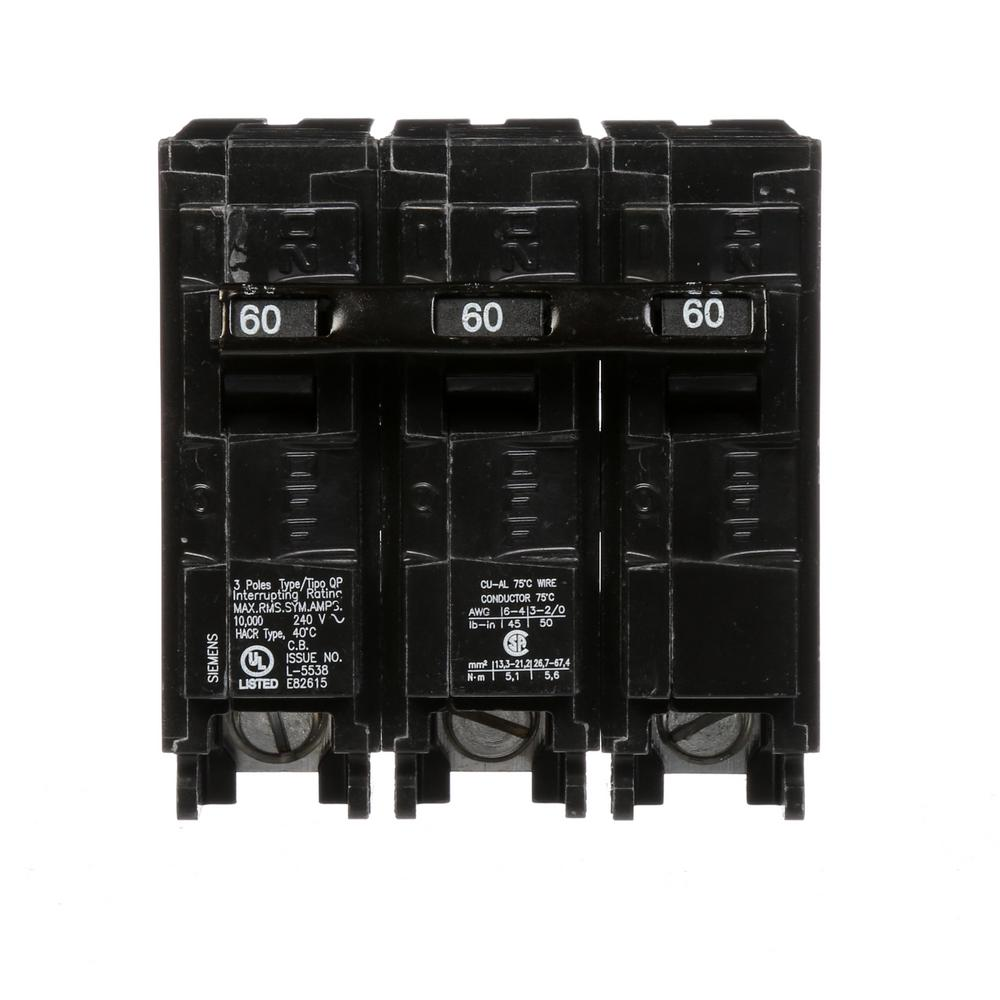 Siemens 60 Amp Three-Pole Type QP Circuit Breaker