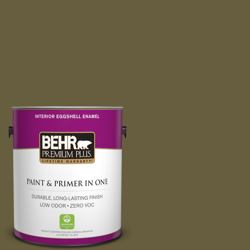 BEHR Premium Plus 1-gal. #ICC-88 Classic Olive Zero VOC Eggshell Enamel Interior Paint
