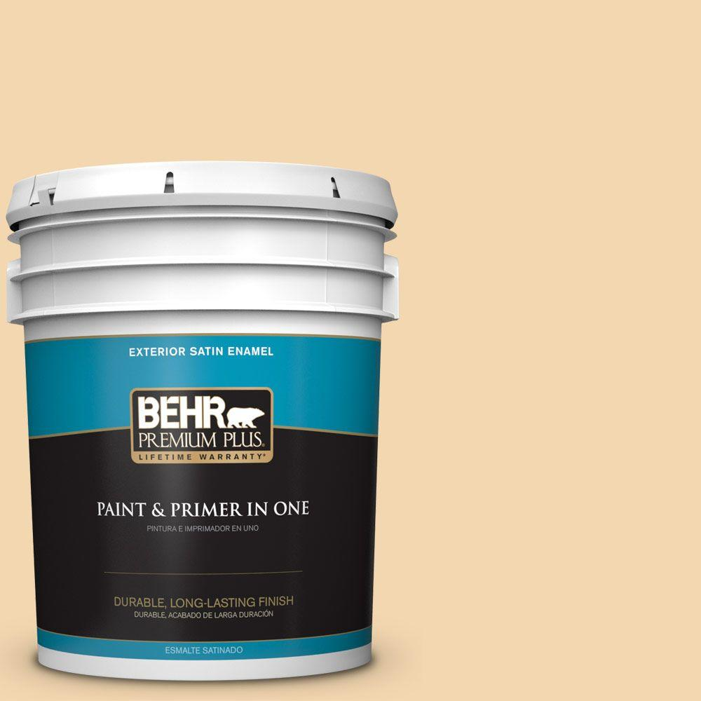 BEHR Premium Plus 5-gal. #M270-3 Cream Custard Satin Enamel Exterior Paint