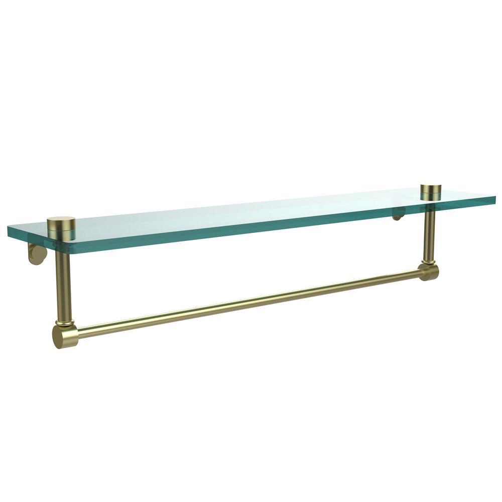 22 in. L  x 5 in. H  x 5 in. W Clear Glass Vanity Bathroom Shelf with Towel Bar in Satin Brass