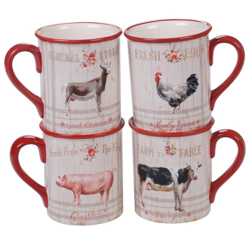 Farmhouse 4-Piece Country/Cottage Multi-Colored Ceramic 16 oz. Mug Set (Service for 4)