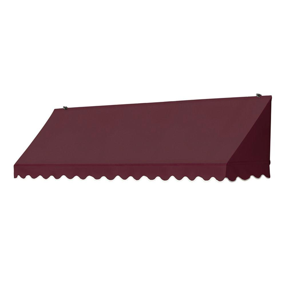 8 ft. Traditional Manually Retractable Awning (26.5 in. Projection) in Burgundy