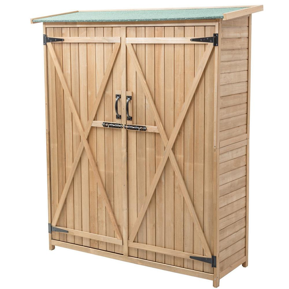 Boyel Living 64 In Wooden Storage Shed Outdoor Garden Fir Wood Cabinet Wf Op3330 The Home Depot