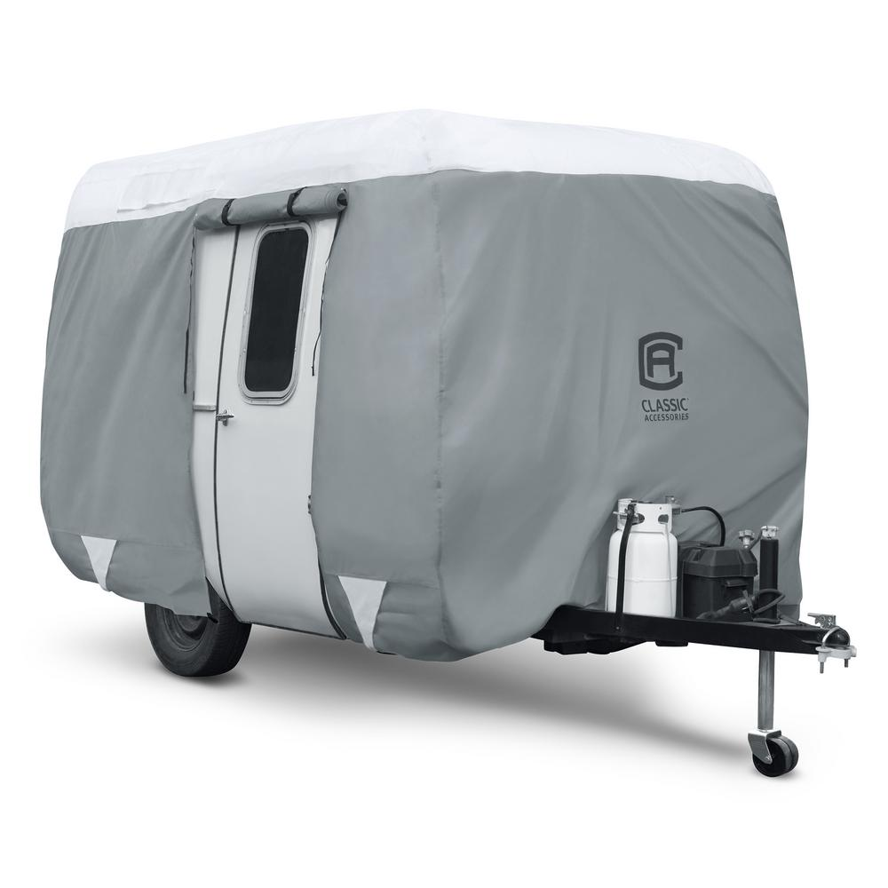 PolyPro III Molded Fiberglass 126 in. L x 80 in. W x 78 in. H Travel Trailer Cover, Grays