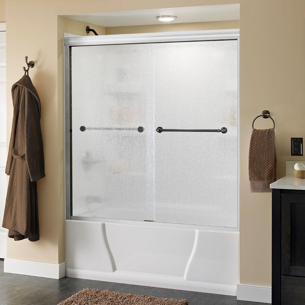 Mandara 60 in. x 56-1/2 in. Semi-Frameless Sliding Bathtub Door in White with Bronze Handle and Rain Glass