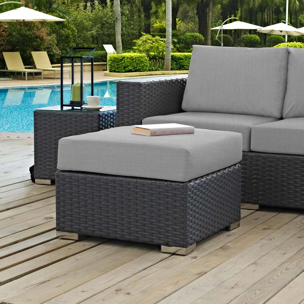 Sojourn Wicker Outdoor Patio Ottoman with Sunbrella Canvas Gray Cushion