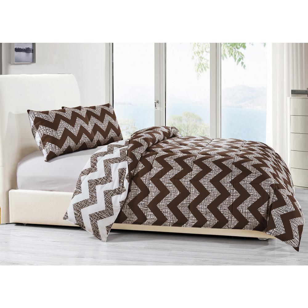 Wyatt 3-Piece Chocolate Full/Queen Comforter Set