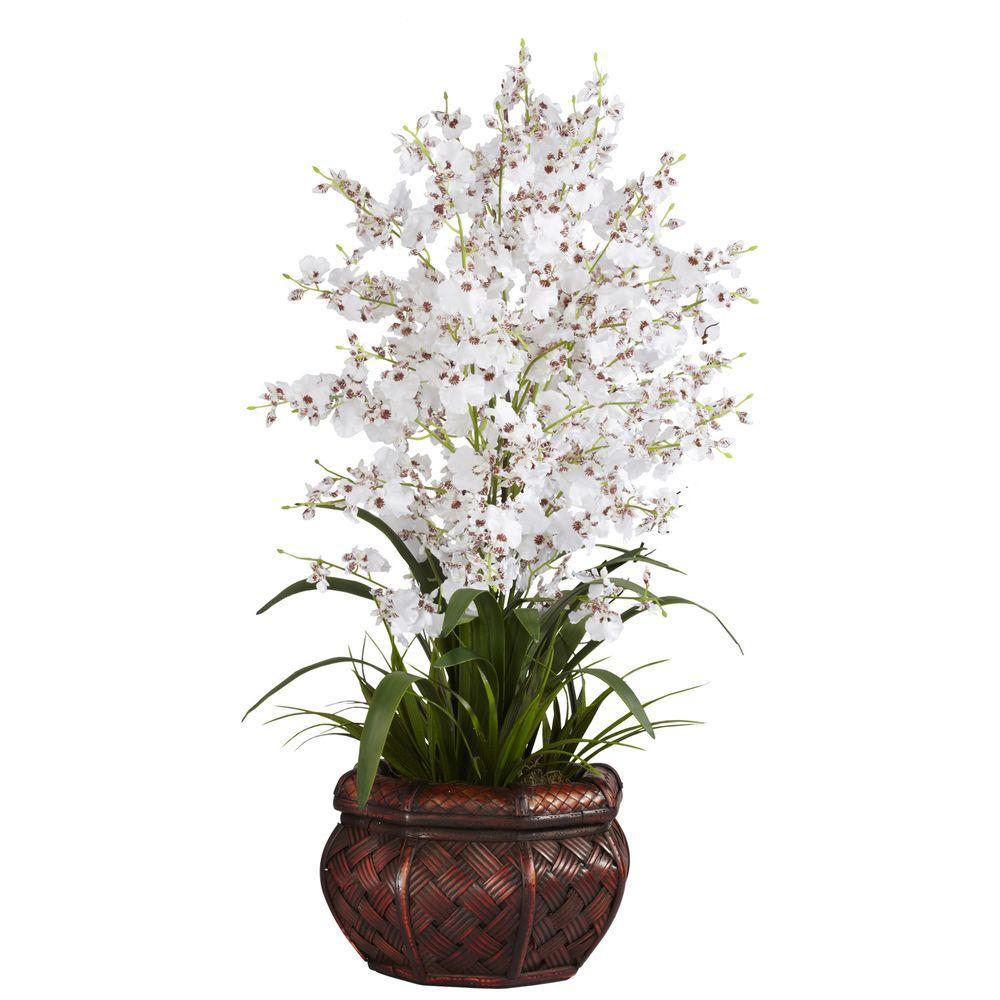 30 in. H White Dancing Lady Silk Flower Arrangement