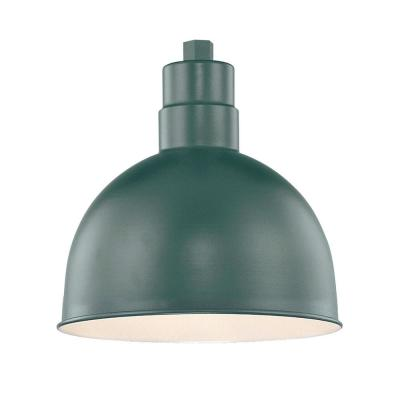 R Series 1-Light 12 in. W Satin Green Outdoor Bowl Shade Pendant