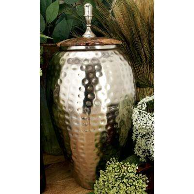 16 in. Silver Iron Urn-Type Tapered Jar with Circular Oak Brown Wood Lid
