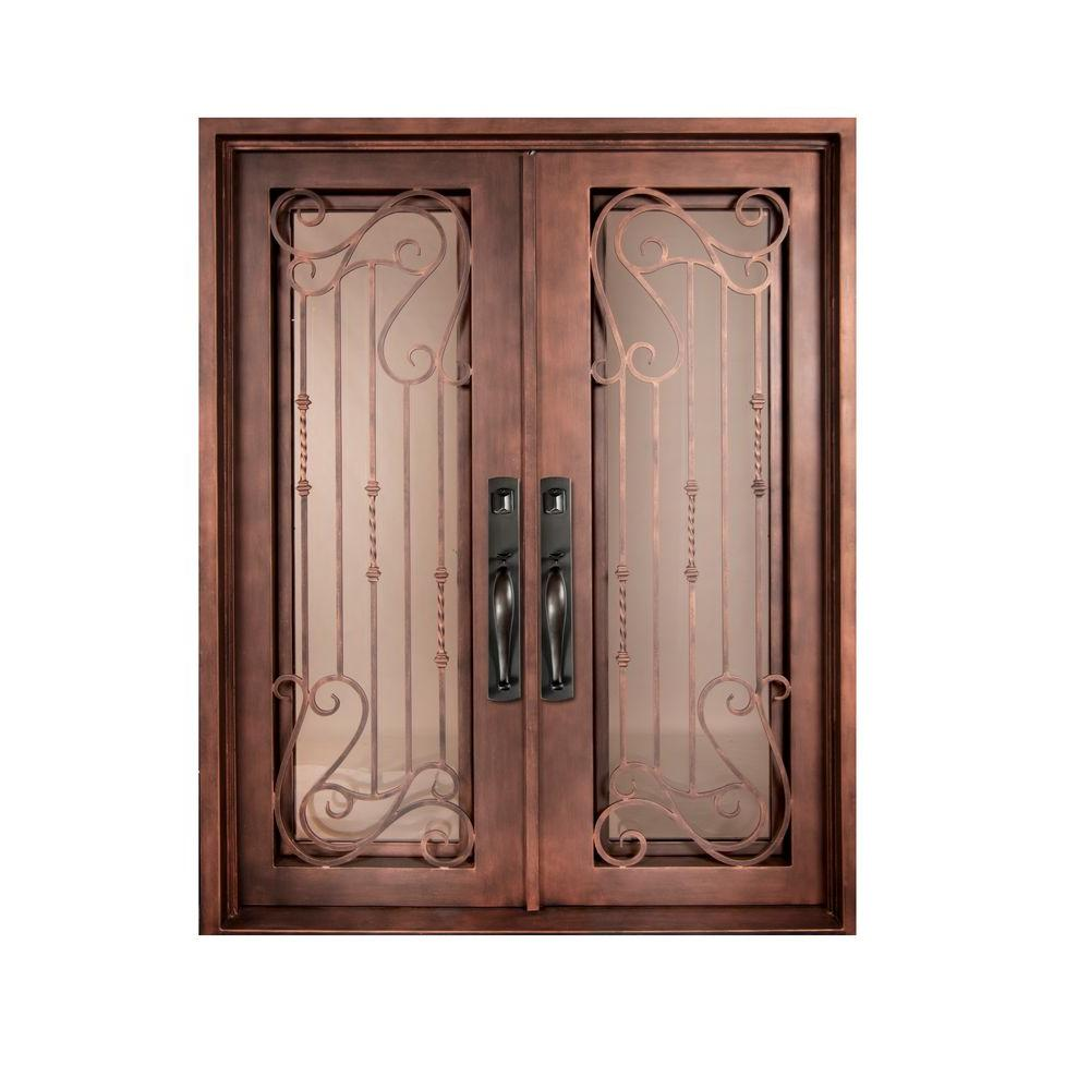 Iron Doors Unlimited 74 in. x 110 in. Armonia Classic Full Lite Painted Bronze Decorative Wrought Iron Prehung Front Door
