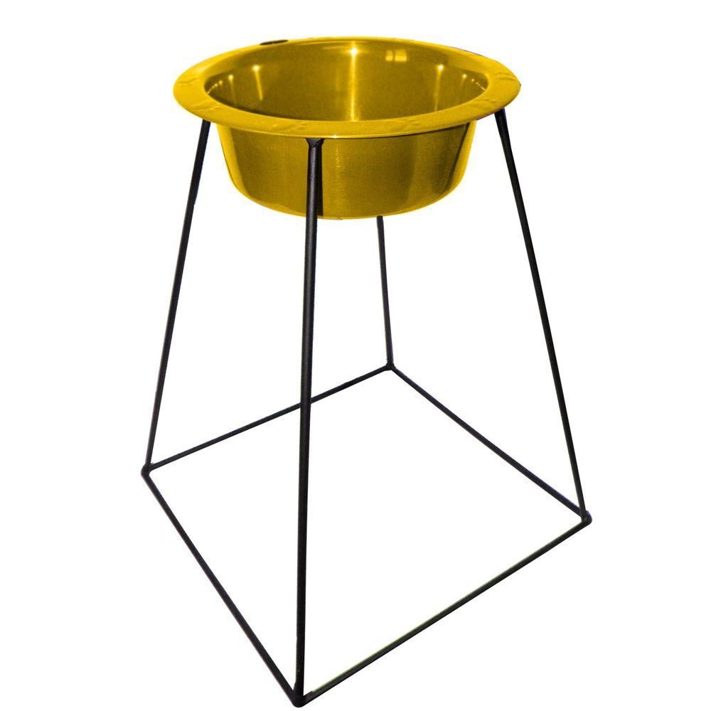 Platinum Pets 8 Cup Wrought Iron Pyramid Single Feeder with an Extra Wide Rimmed Bowl in Gold