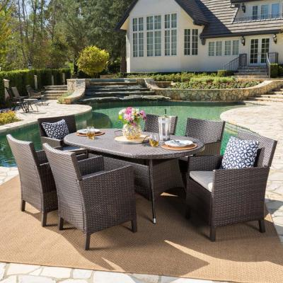 Cypress 28.50 in. Multi-Brown 7-Piece Metal Round Outdoor Dining Set with Light Brown Cushions