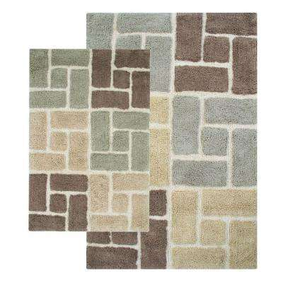 Berkeley 21 in. x 34 in. and 24 in. x 40 in. 2-Piece Bath Rug Set in Tan