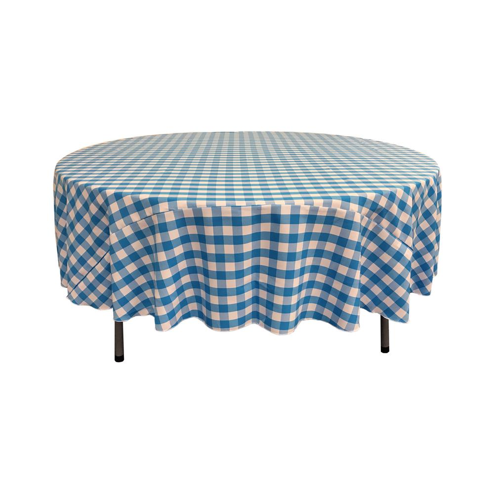 LA Linen 72 In. White And Turquoise Polyester Gingham Checkered Round  Tablecloth