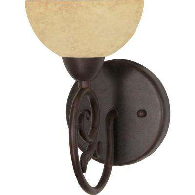 Eunike 1-Light Old Bronze Bath Vanity Light with Tuscan Suede Glass