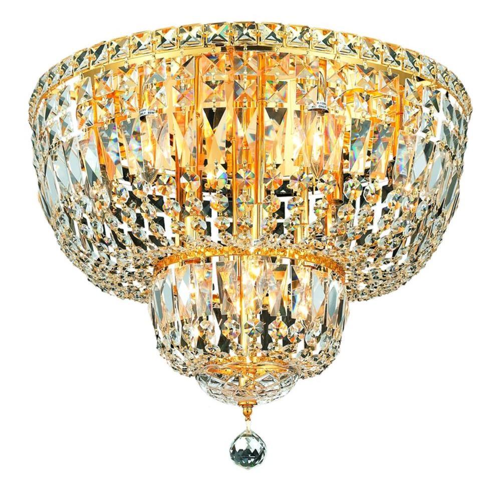 Elegant Lighting 10-Light Gold Flushmount with Clear Crystal