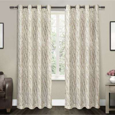 Oakdale 54 in. W x 96 in. L Sheer Grommet Top Curtain Panel in Taupe (2 Panels)