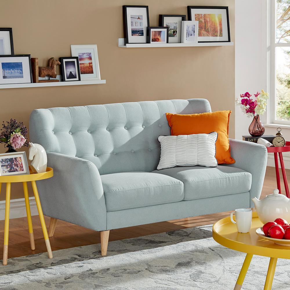 Home Decorators Collection Mayfair Linen Pearl Loveseat 1640100870 The Home Depot