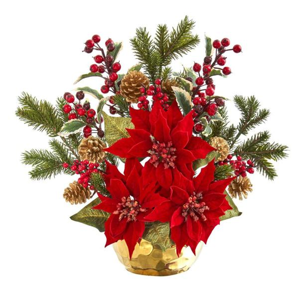 17in. Poinsettia, Holly Berry and Pine Artificial Arrangement