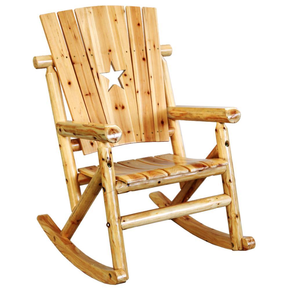 Aspen Wood Patio Star Rocking Chair