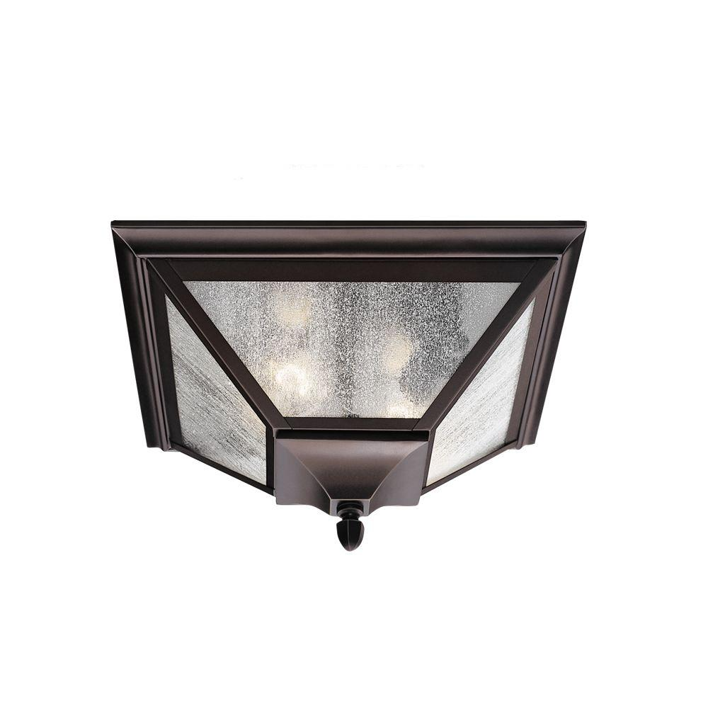 Feiss homestead 2 light oil rubbed bronze outdoor ceiling fixture ol1013orb the home depot for Bronze exterior light fixtures